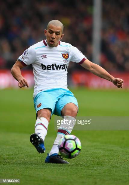 West Ham player Sofiane Feghouli in action during the Premier League match between AFC Bournemouth and West Ham United at Vitality Stadium on March...