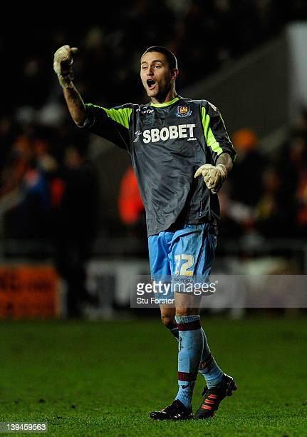 West Ham substitute keeper Henri Lansbury celebrates the fourth West Ham goal during the npower Championship game between Blackpool and West Ham...