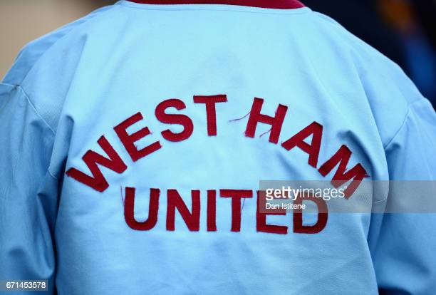 West Ham supporter is pictured prior to the Premier League match between West Ham United and Everton at the London Stadium on April 22 2017 in...