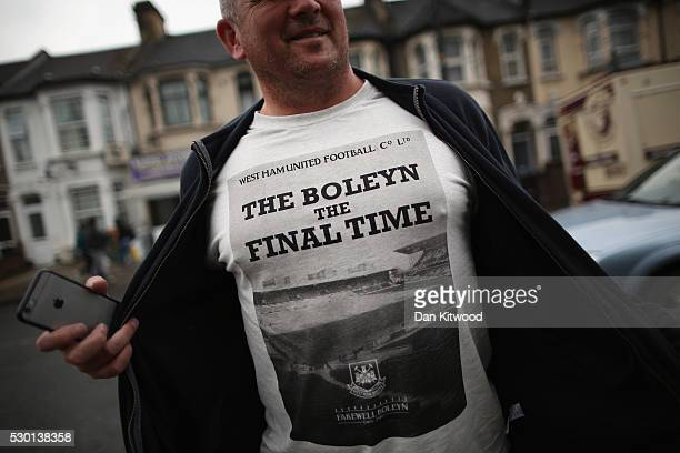 West Ham supporter shows his T shirt outside West Ham United FC's Boleyn Ground on May 10 2016 in London England Tonights Premier League match...
