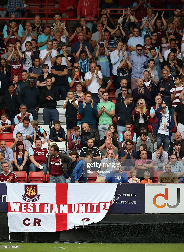 West Ham supporters watch the action during the pre season friendly match between Charlton Athletic and West Ham United at the Valley on July 25 2015...