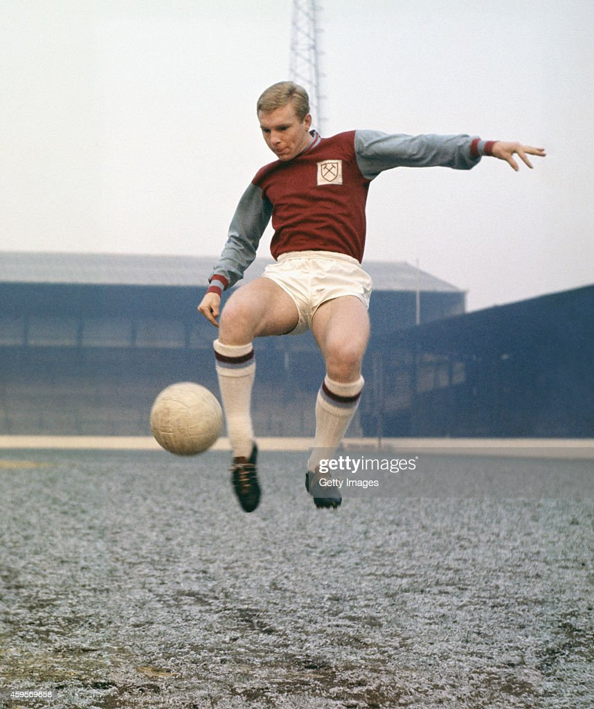 West Ham United captain <a gi-track='captionPersonalityLinkClicked' href=/galleries/search?phrase=Bobby+Moore&family=editorial&specificpeople=206646 ng-click='$event.stopPropagation()'>Bobby Moore</a> pictured at Upton Park in 1965 in London, England, Moore made over 500 appearances for the East London side as well as captaining England to the 1966 FIFA World Cup.
