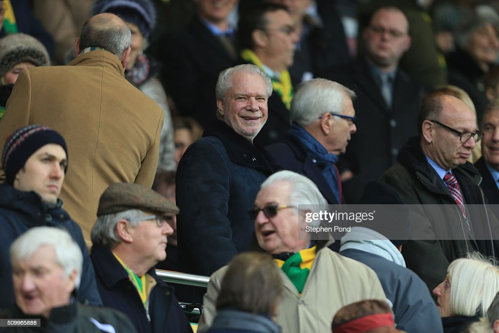 West Ham United Co Chairman <a gi-track='captionPersonalityLinkClicked' href=/galleries/search?phrase=David+Gold&family=editorial&specificpeople=65904 ng-click='$event.stopPropagation()'>David Gold</a> is seen prior to the Barclays Premier League match between Norwich City and West Ham United at Carrow Road on February 13, 2016 in Norwich, England.