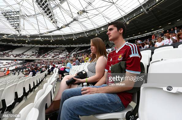 West Ham United fan takes his seat prior to the International Friendly match between The Barbarians and Samoa at Olympic Stadium on August 29 2015 in...