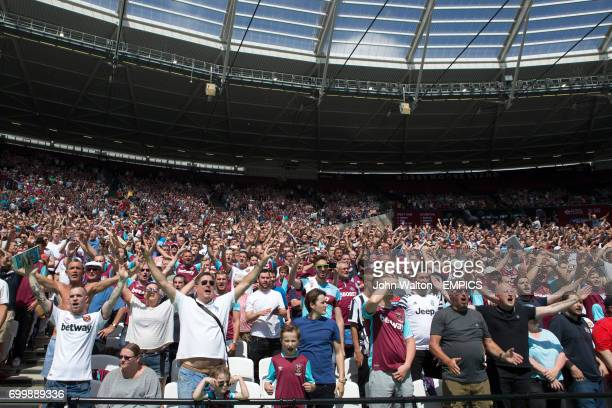 West Ham United fans in the stands show their support