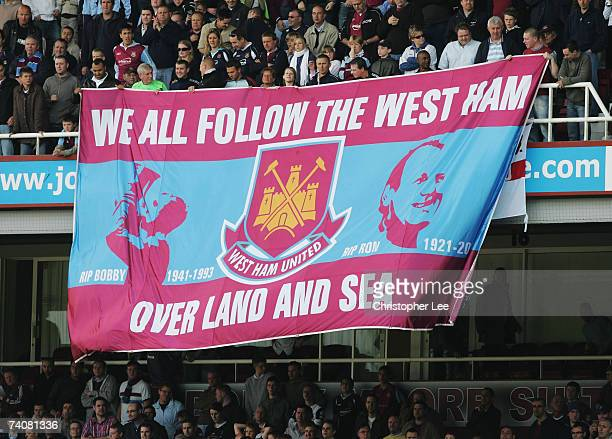 West Ham United fans unfurl a banner during the Barclays Premiership match between West Ham United and Bolton Wanderers at Upton Park on May 5 2007...