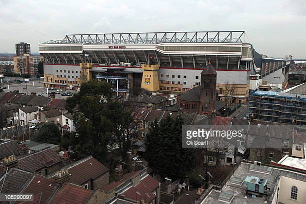 West Ham United football club's Upton Park stadium in east London on January 24 2011 in London England West Ham and Tottenham Hotspur Premier League...