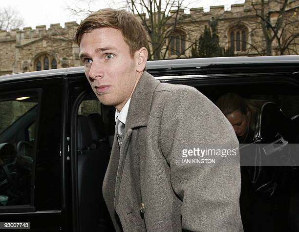 West Ham United footballer Calum Davenport arrives at Bedford Magistrates Court north of London on November 10 2009 Davenport is charged with...