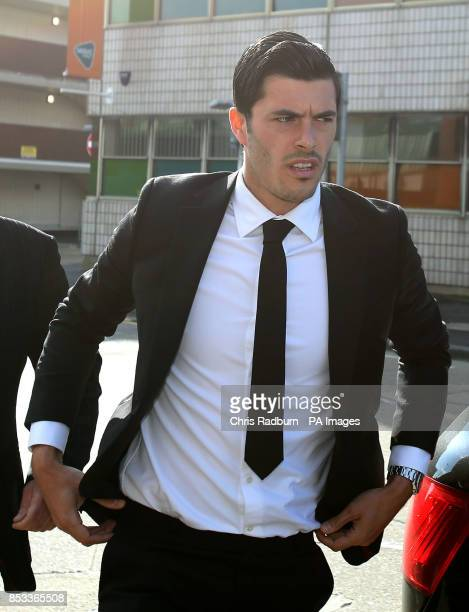 West Ham United footballer James Tompkins arrives at Basildon Magistrates court in Essex where he is due to face a charge of assaulting a police...