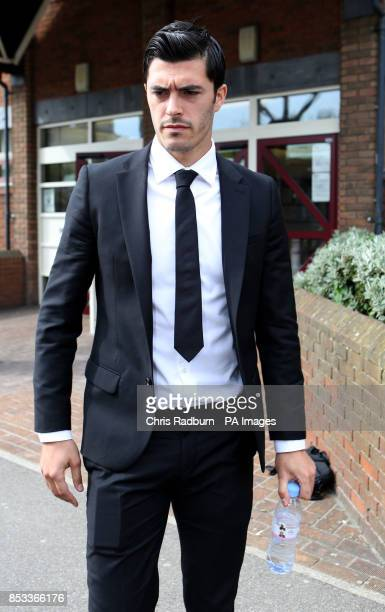West Ham United footballer James Tompkins Basildon Magistrates court in Essex where is was facing a charge of assaulting a police officer