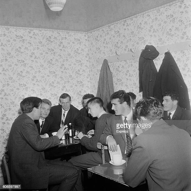 West Ham United footballers discuss the upcoming Professional Footballers' Association strike in a cafe in London's East End 11th November 1960 The...