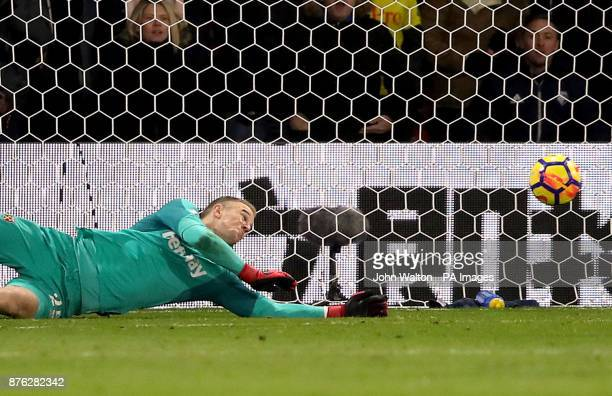 West Ham United goalkeeper Joe Hart dives as Watford's Richarlison's shot goes in the net for his side's second goal during the Premier League match...