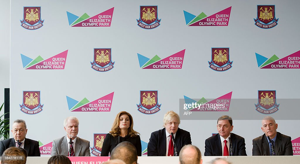 West Ham United joint Chairman Daivd Sullivan, West Ham United joint Chairman David Gold, West Ham United Vice-Chairman Karren Brady, London Mayor Boris Johnson, Mayor of Newham Robin Wales and Chief Executive of Newham Borough Council Kim Bromley-Derry respond to questions from the media during a press conference in east London to announce the new deal between Newham council and West Ham United football club on March 22, 2013. The stadium built for the London 2012 Olympic summer games has had its future secured in a deal where the English Premier League team West Ham United will have a 99 year lease to use the stadium starting in 2016. AFP PHOTO/LEON NEAL