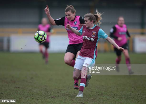 West Ham United Ladies Molly Peters takes on Nadine Bazan of Portsmouth Ladies during FA Women's Premier League Southern Division West Ham United...