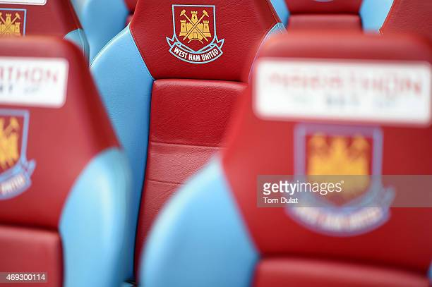 West Ham United logo is pictured prior to the Barclays Premier League match between West Ham United and Stoke City at Boleyn Ground on April 11 2015...
