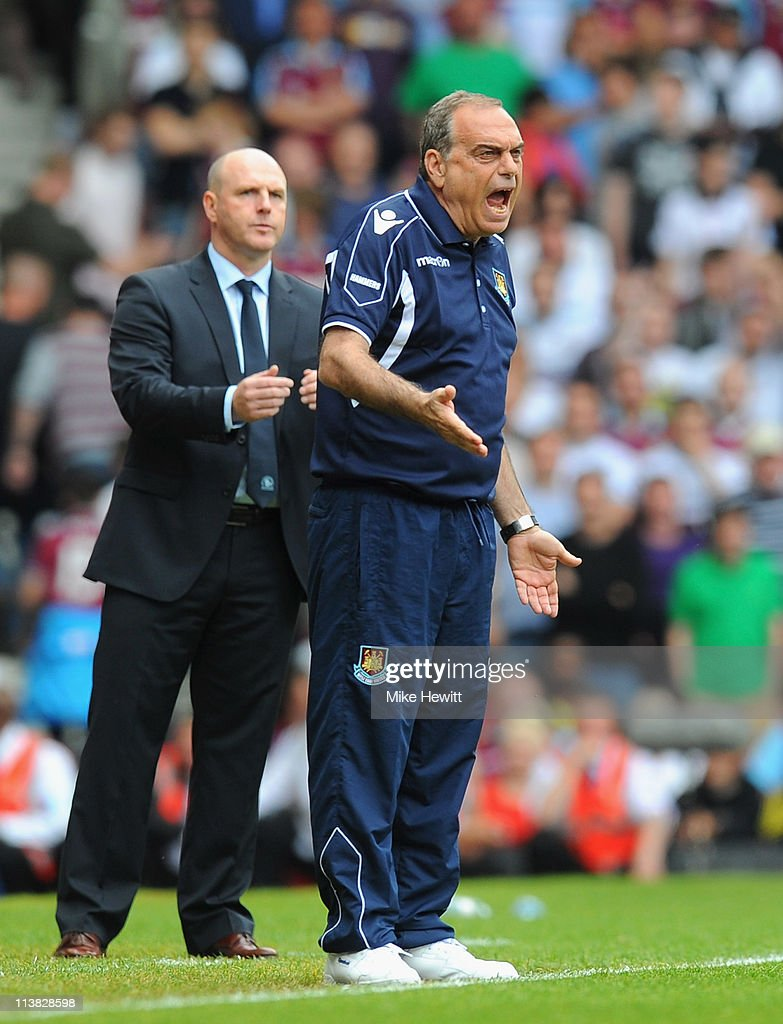 West Ham United manager <a gi-track='captionPersonalityLinkClicked' href=/galleries/search?phrase=Avram+Grant&family=editorial&specificpeople=4506029 ng-click='$event.stopPropagation()'>Avram Grant</a> shouts orders to his team during the Barclays Premier League match between West Ham United and Blackburn Rovers at the Boleyn Ground on May 7, 2011 in London, England.