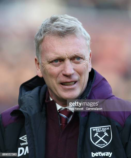 West Ham United manager David Moyes during the Premier League match between West Ham United and Chelsea at London Stadium on December 9 2017 in...
