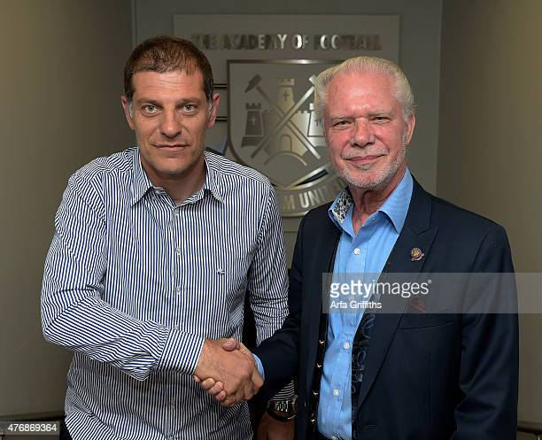 West Ham United New Manager Slaven Bilic shakes hands with West Ham Chairman David Gold at the Boleyn Ground on June 12 2015 in London United Kingdom