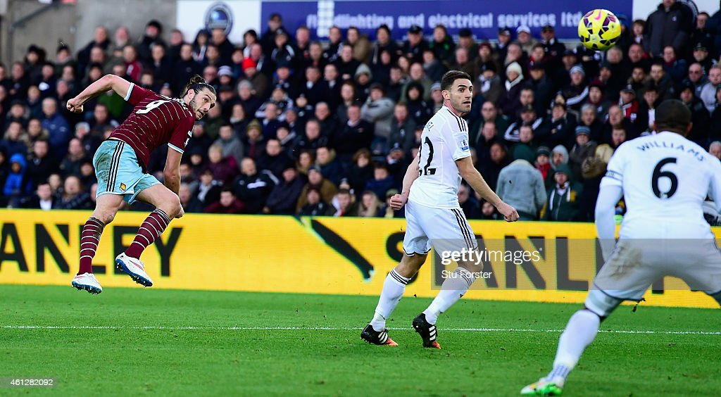 West Ham United player <a gi-track='captionPersonalityLinkClicked' href=/galleries/search?phrase=Andy+Carroll+-+Soccer+Player&family=editorial&specificpeople=1449090 ng-click='$event.stopPropagation()'>Andy Carroll</a> (l) shoots to score the opening goal during the Barclays Premier League match between Swansea City and West Ham United at Liberty Stadium on January 10, 2015 in Swansea, Wales.