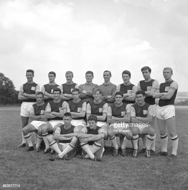 West Ham United players pictured at Grange Farm Chigwell Essex where they were training for the new football 196162 season Ken Brown Geoff Hurst Joe...