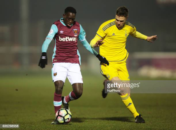 LR West Ham United U23s Domingos Quina holds of Cian Coleman of Nottingham Forest Under 23s during The Premier League Cup Group E match between West...
