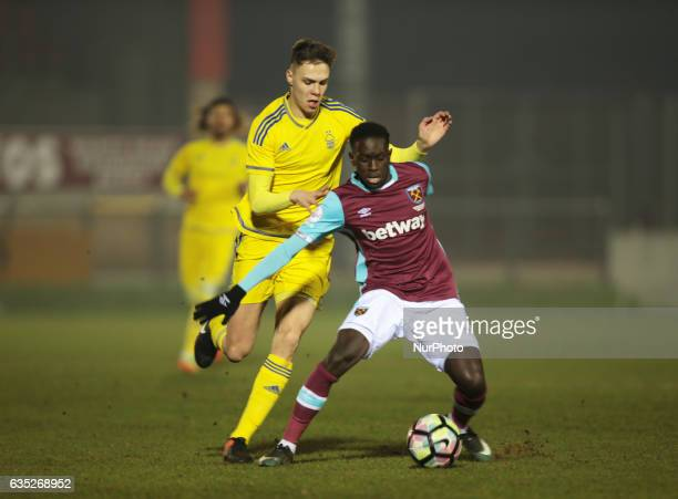 West Ham United U23s Domingos Quina under pressure from Cian Coleman of Nottingham Forest Under 23sduring The Premier League Cup Group E match...