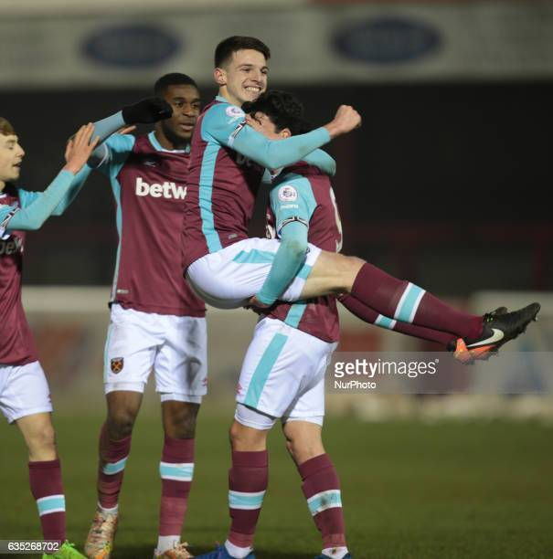 West Ham United U23s Joe Powell celebrates his second goal with West Ham United U23s Declan Rice during The Premier League Cup Group E match between...