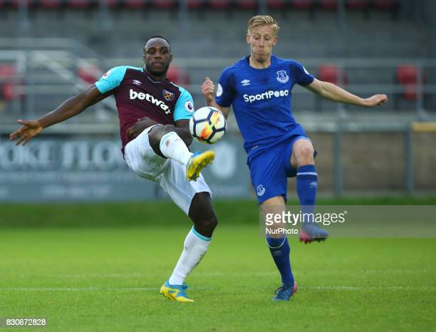 West Ham United U23s Michael Antonio beats Harry Charsley of Everton Under 23s during Premier League 2 Division 1 match between West Ham United Under...