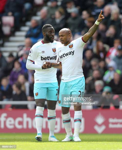 West Ham United's Andre Ayew celebrates scoring his sides first goal with Arthur Masuaku during the Premier League match between Sunderland and West...