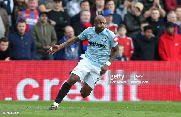 West Ham United's Andre Ayew celebrates scoring his side's second goal during the Premier League match between Crystal Palace and West Ham United at...