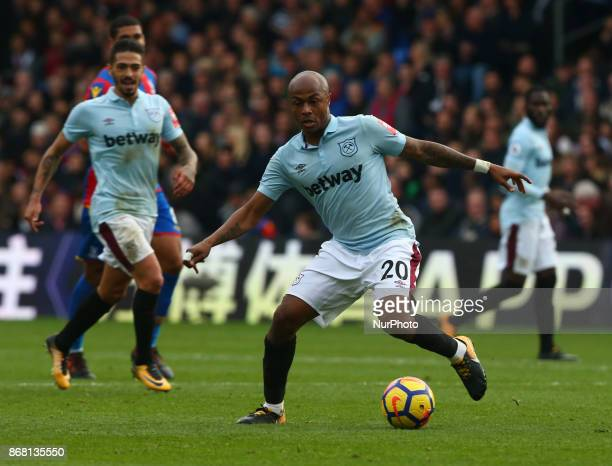 West Ham United's Andre Ayew during Premier League match between Crystal Palace and West Ham United at Selhurst Park Stadium London England on 28 Oct...
