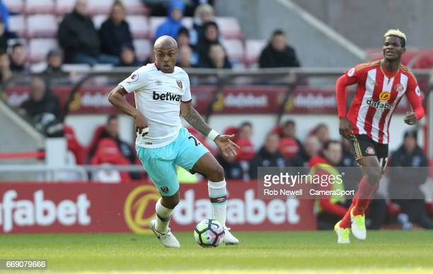 West Ham United's Andre Ayew during the Premier League match between Sunderland and West Ham United at Stadium of Light on April 15 2017 in...