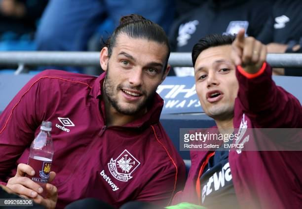 West Ham United's Andy Carroll and Mauro Zarate