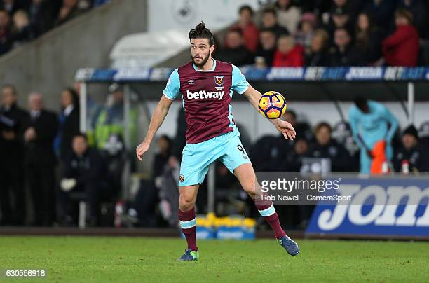 West Ham United's Andy Carroll during the Premier League match between Swansea City and West Ham United at Liberty Stadium on December 26 2016 in...
