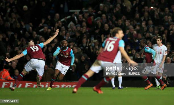 West Ham United's Angelo Ogbonna celebrates scoring his side's second goal in extratime during the Emirates FA Cup fourth round replay match at Upton...