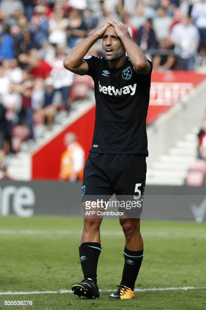 West Ham United's Argentinian defender Pablo Zabaleta reacts during the English Premier League football match between Southampton and West Ham United...