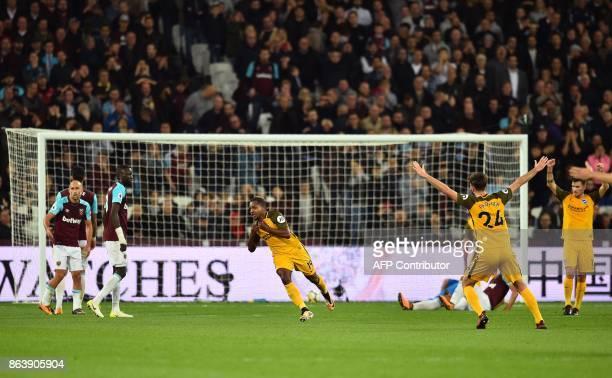 West Ham United's Argentinian defender Pablo Zabaleta West Ham United's Portuguese defender Jose Fonte and West Ham United's Senegalese midfielder...