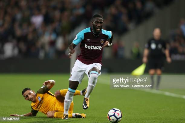 West Ham United's Arthur Masuaku during the Premier League match between West Ham United and Brighton and Hove Albion at London Stadium on October 20...
