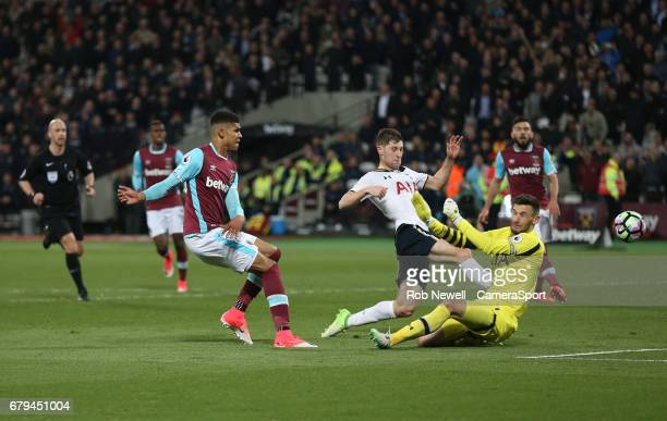 West Ham United's Ashley Fletcher goes close in the second half during the Premier League match between West Ham United and Tottenham Hotspur at...