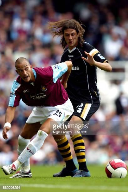 West Ham United's Bobby Zamora and Charlton Athletic's Gonzalo Sorondo
