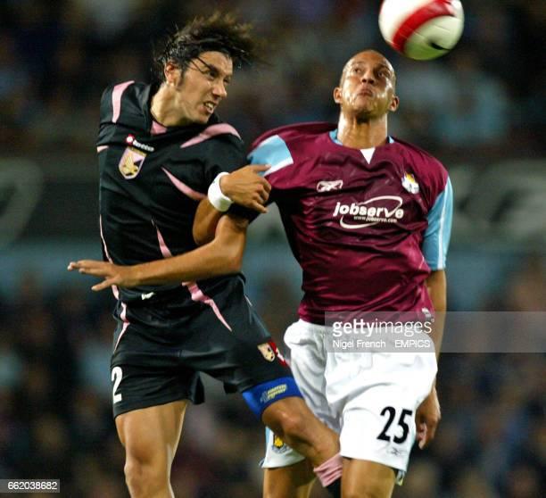 West Ham United's Bobby Zamora and Palermo's Cristian Zaccardo
