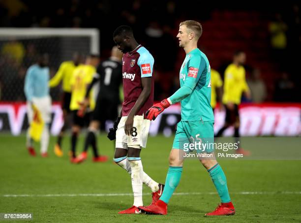 West Ham United's Cheikhou Kouyate and West Ham United goalkeeper Joe Hart appear dejected after the final whistle during the Premier League match at...