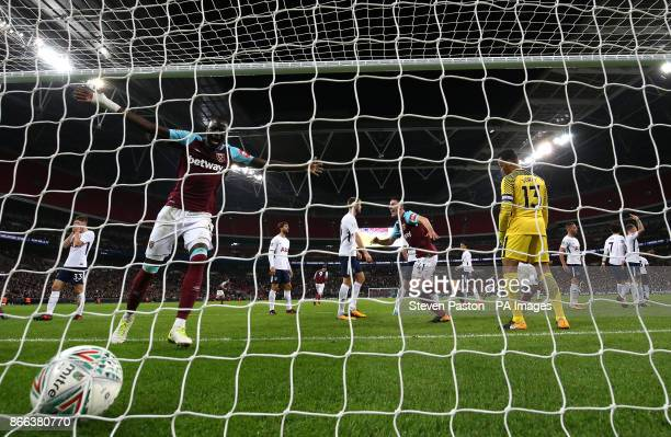 West Ham United's Cheikhou Kouyate celebrates teh third goal of the game scored by Andre Ayew during the Carabao Cup Fourth Round match at Wembley...