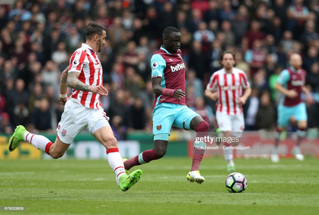West Ham United's Cheikhou Kouyate during the Premier League match between Stoke City and West Ham United at Bet365 Stadium on April 29, 2017 in Stoke on Trent, England.