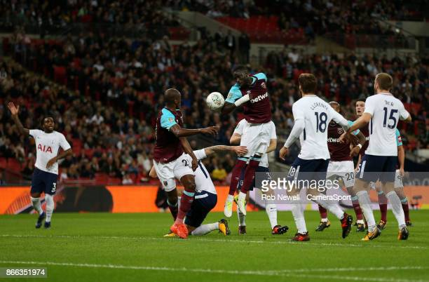 West Ham United's Cheikhou Kouyate with a header towards goal during the Carabao Cup Fourth Round match between Tottenham Hotspur and West Ham United...