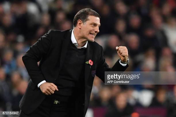 West Ham United's Croatian manager Slaven Bilic gestures during the English Premier League football match between West Ham United and Liverpool at...
