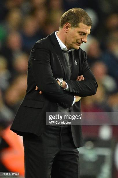 West Ham United's Croatian manager Slaven Bilic reacts on the touchline during the English Premier League football match between West Ham United and...