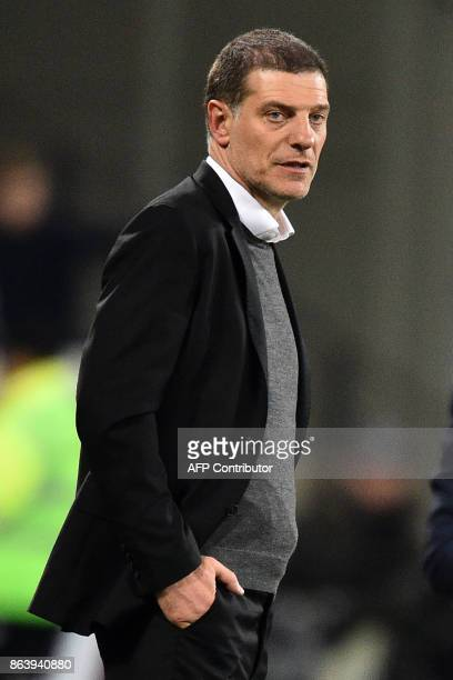 West Ham United's Croatian manager Slaven Bilic watches on the touchline during the English Premier League football match between West Ham United and...