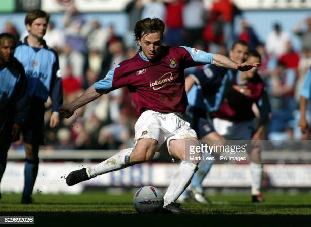 West Ham United's David Connolly scores his sides second goal Against Coventry City from the penalty spot during their Nationwide Division One match...