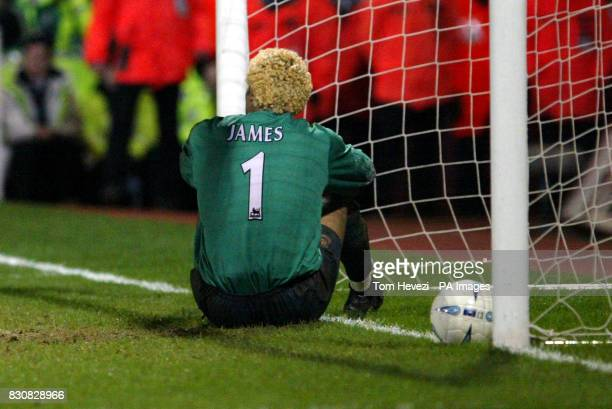 West Ham United's David James sits in disbelief after Chelsea's Mikael Forsell scores the equalizer during the AXA FA Cup 4th round replay at Upton...